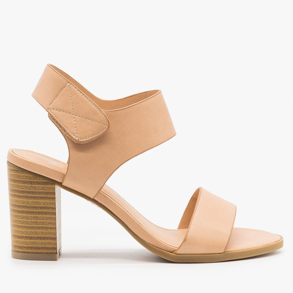 Womens Chic Velcro Clasp Heels - Novo Shoes - Nude / 5