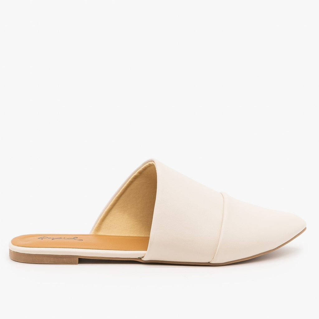 Womens Chic Wrapped Mules - Qupid Shoes - Off White / 5