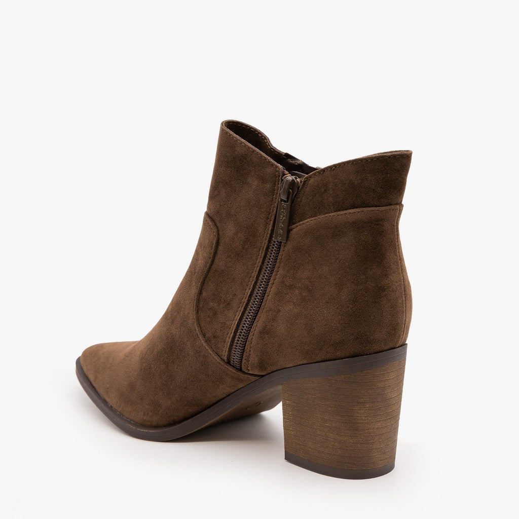 Womens Chic Zipper Heeled Ankle Booties - Breckelles