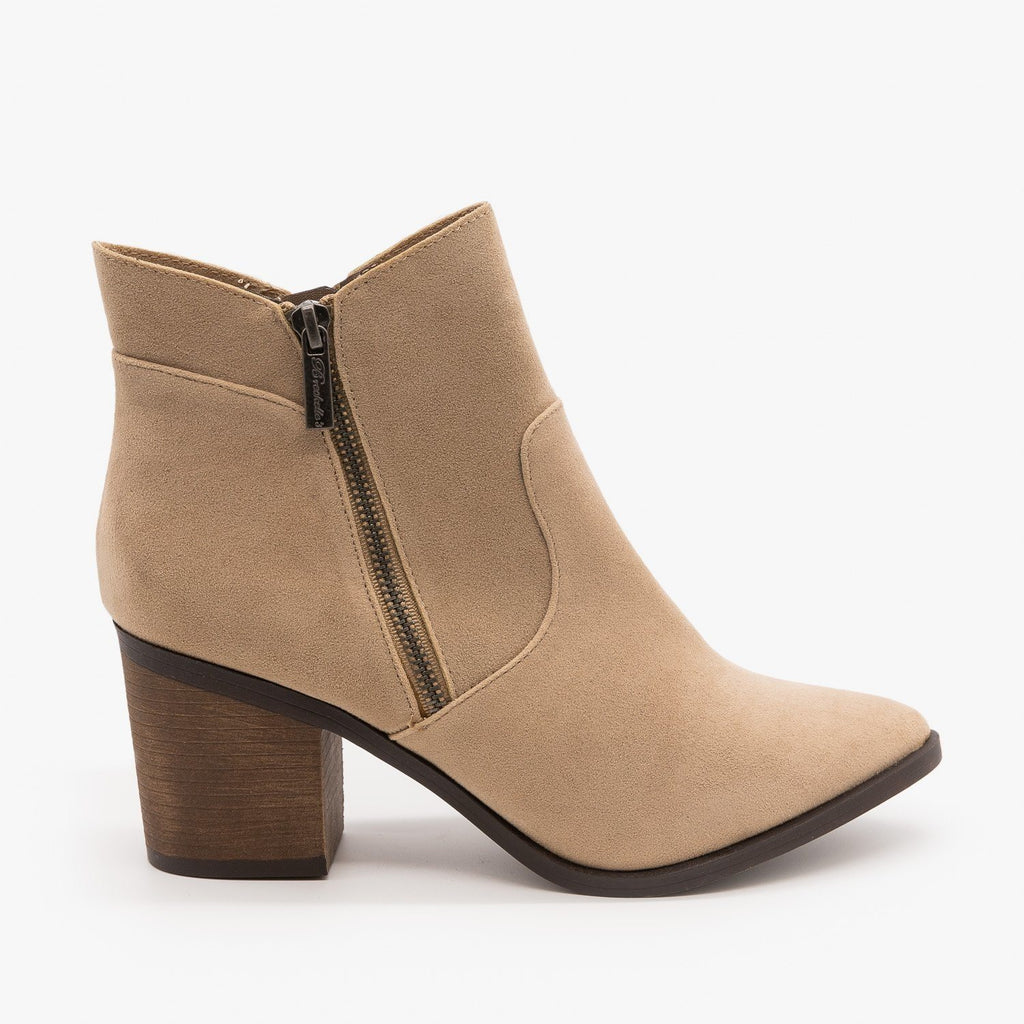 Womens Chic Zipper Heeled Ankle Booties - Breckelles - Beige / 5