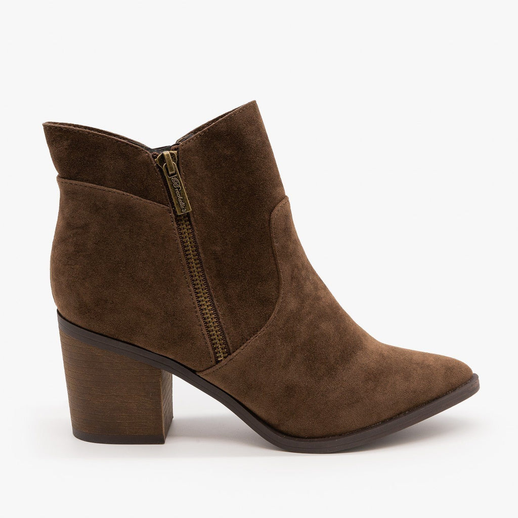 Womens Chic Zipper Heeled Ankle Booties - Breckelles - Brown / 5