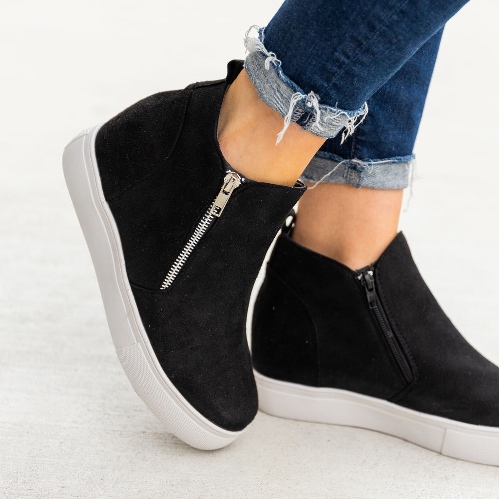 Women's Chic Zippered Inner Wedge Sneakers - Nature Breeze