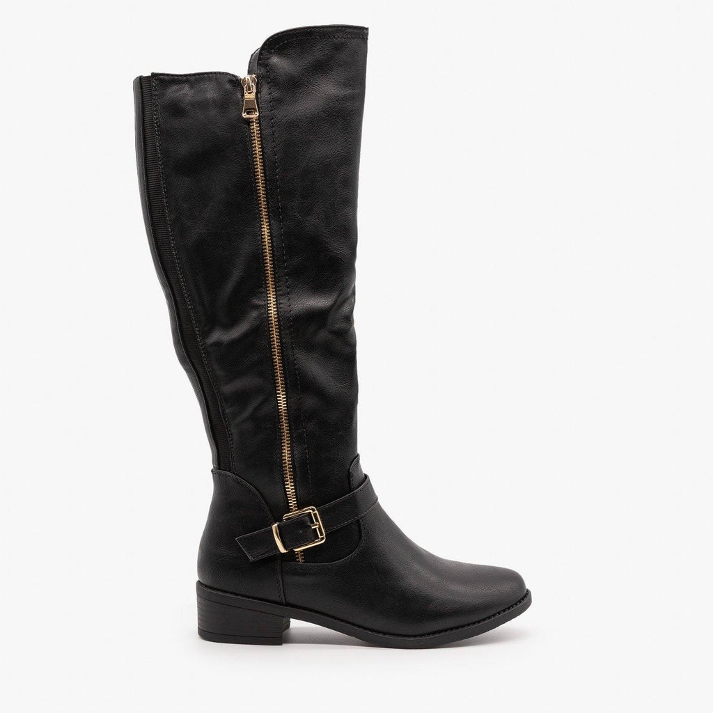 Womens Chic Zippered Riding Boots - Top Moda - Black / 5