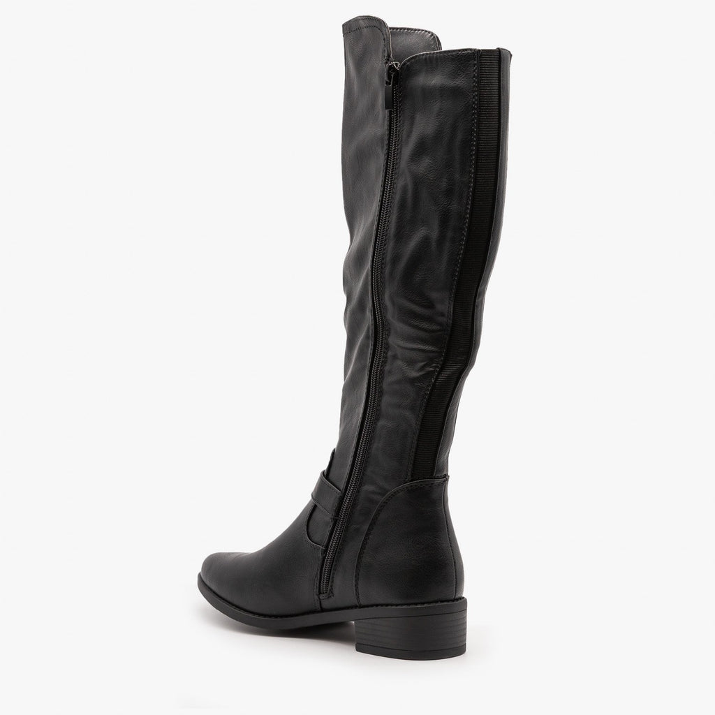 Womens Chic Zippered Riding Boots - Top Moda