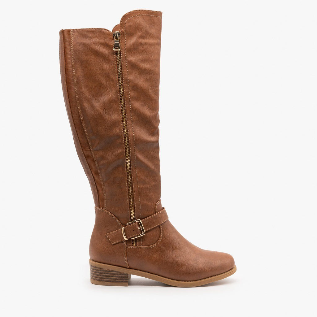Womens Chic Zippered Riding Boots - Top Moda - Tan / 5