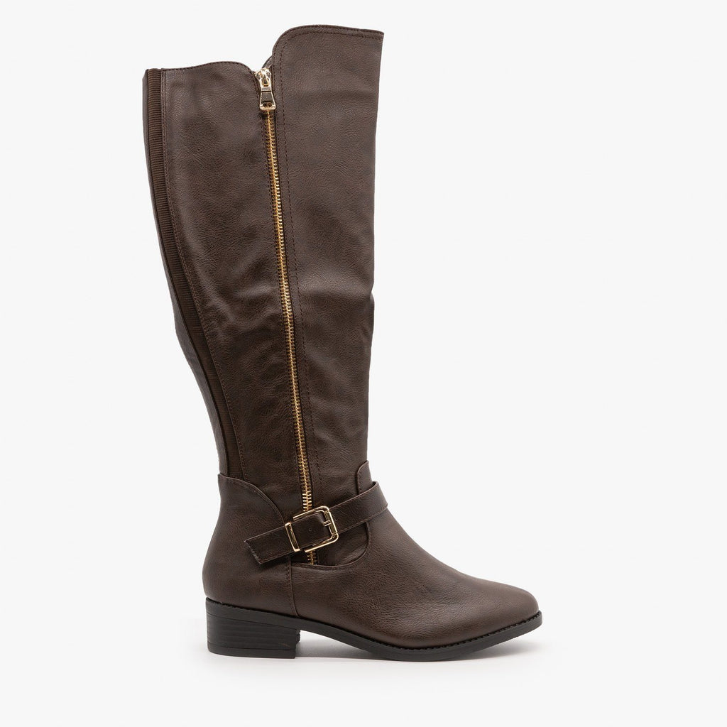 Womens Chic Zippered Riding Boots - Top Moda - Brown / 5