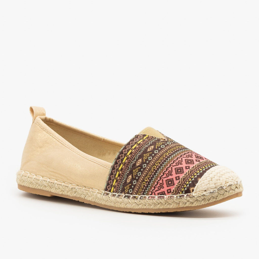 Womens Chinle Print Slip On Flats - Bella Marie - Gold / 5