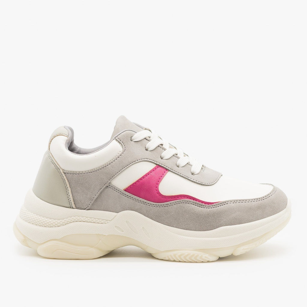 Womens Chunky Color Block Sneakers - Unilady - Gray / 5