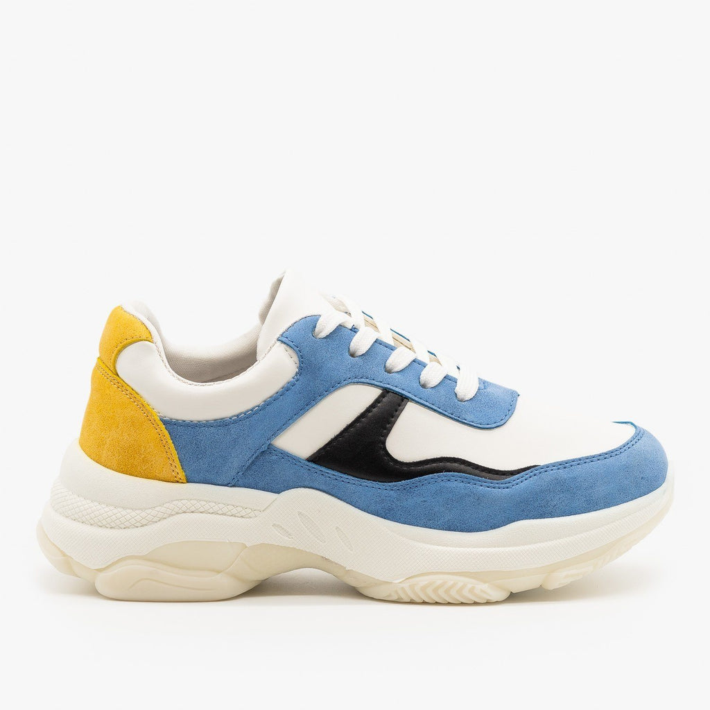 Womens Chunky Color Block Sneakers - Unilady - Blue / 5