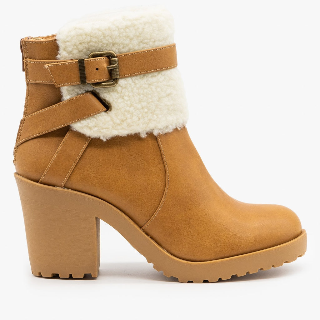 Womens Chunky Heel Belted Booties - Soda Shoes - Natural Beige / 5