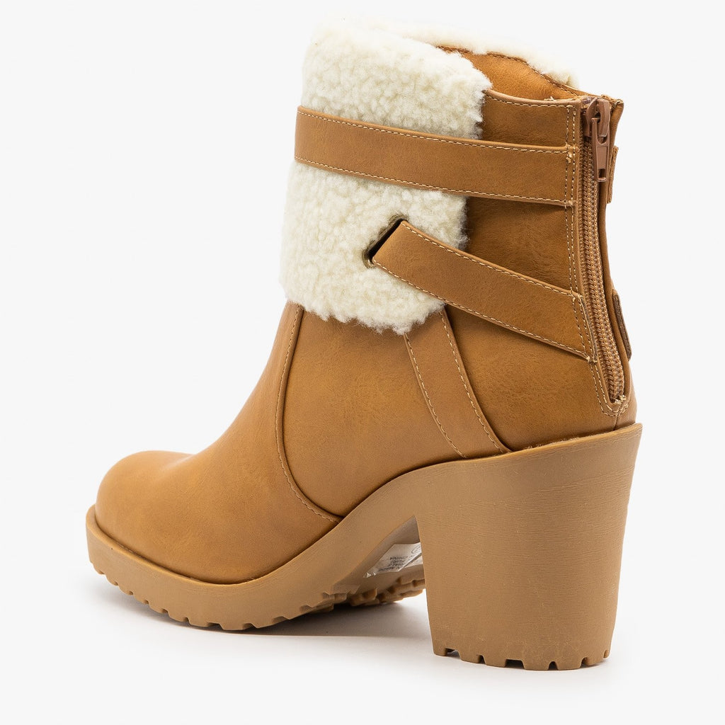 Womens Chunky Heel Belted Booties - Soda Shoes