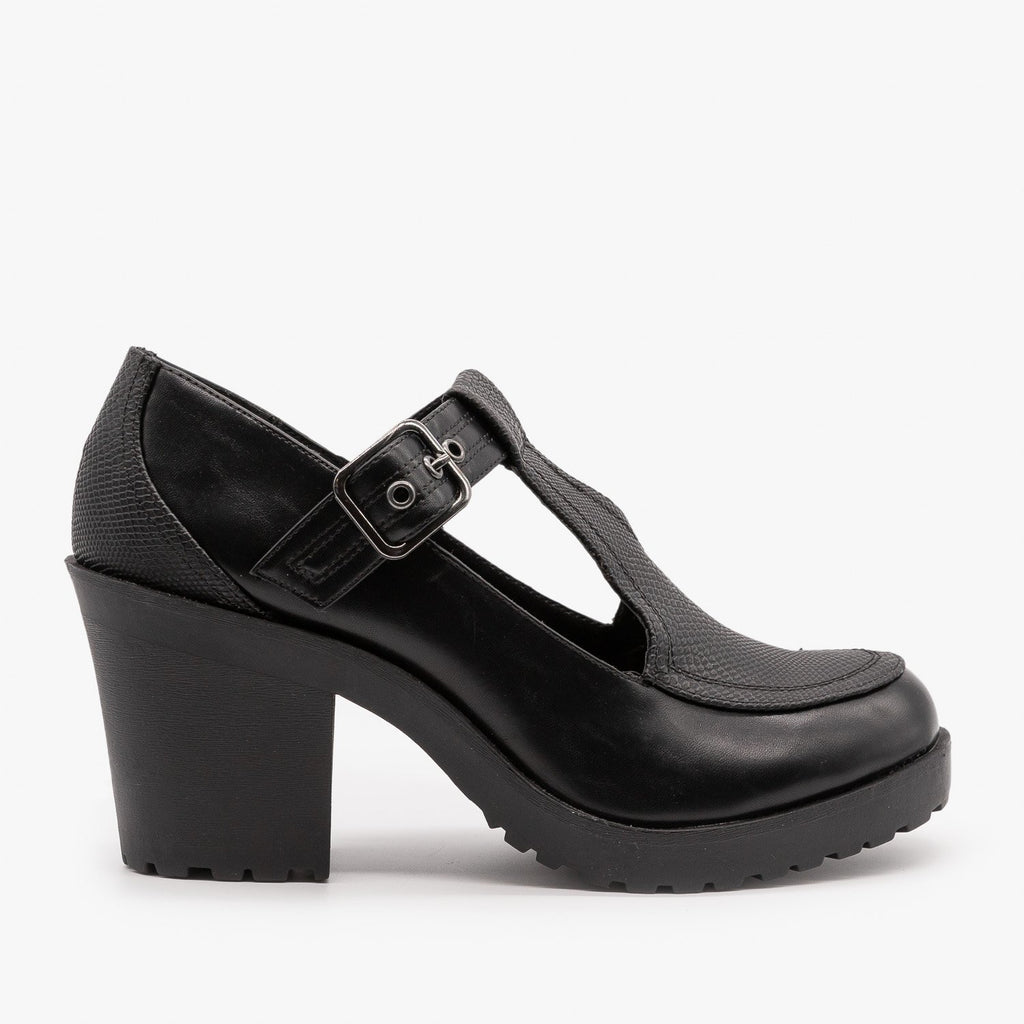 Womens Chunky Heel Doll Shoes - Soda Shoes - Black Lizard / 5