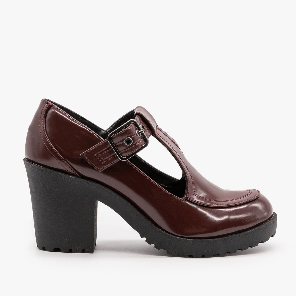 Womens Chunky Heel Doll Shoes - Soda Shoes - Burgundy / 5