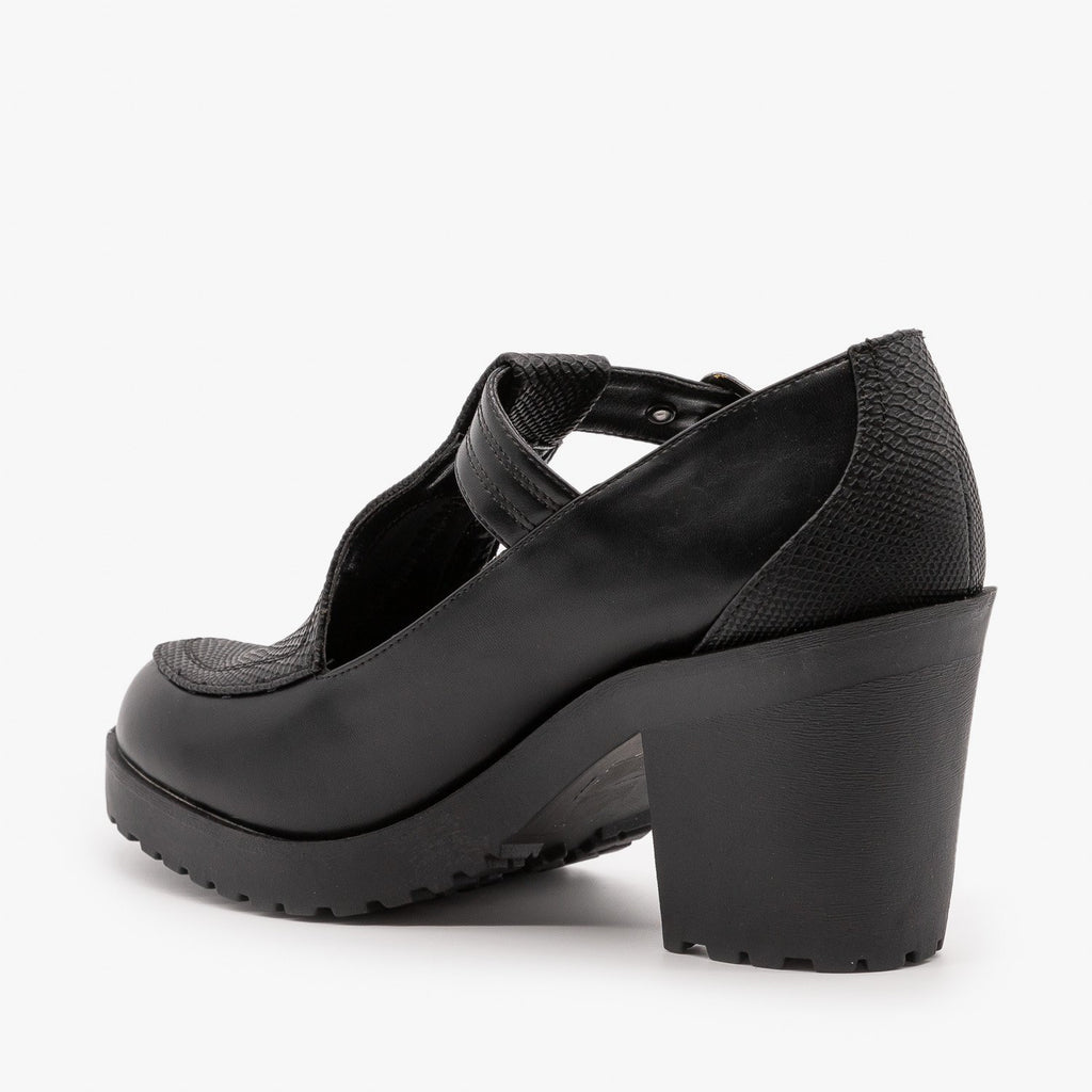 Womens Chunky Heel Doll Shoes - Soda Shoes