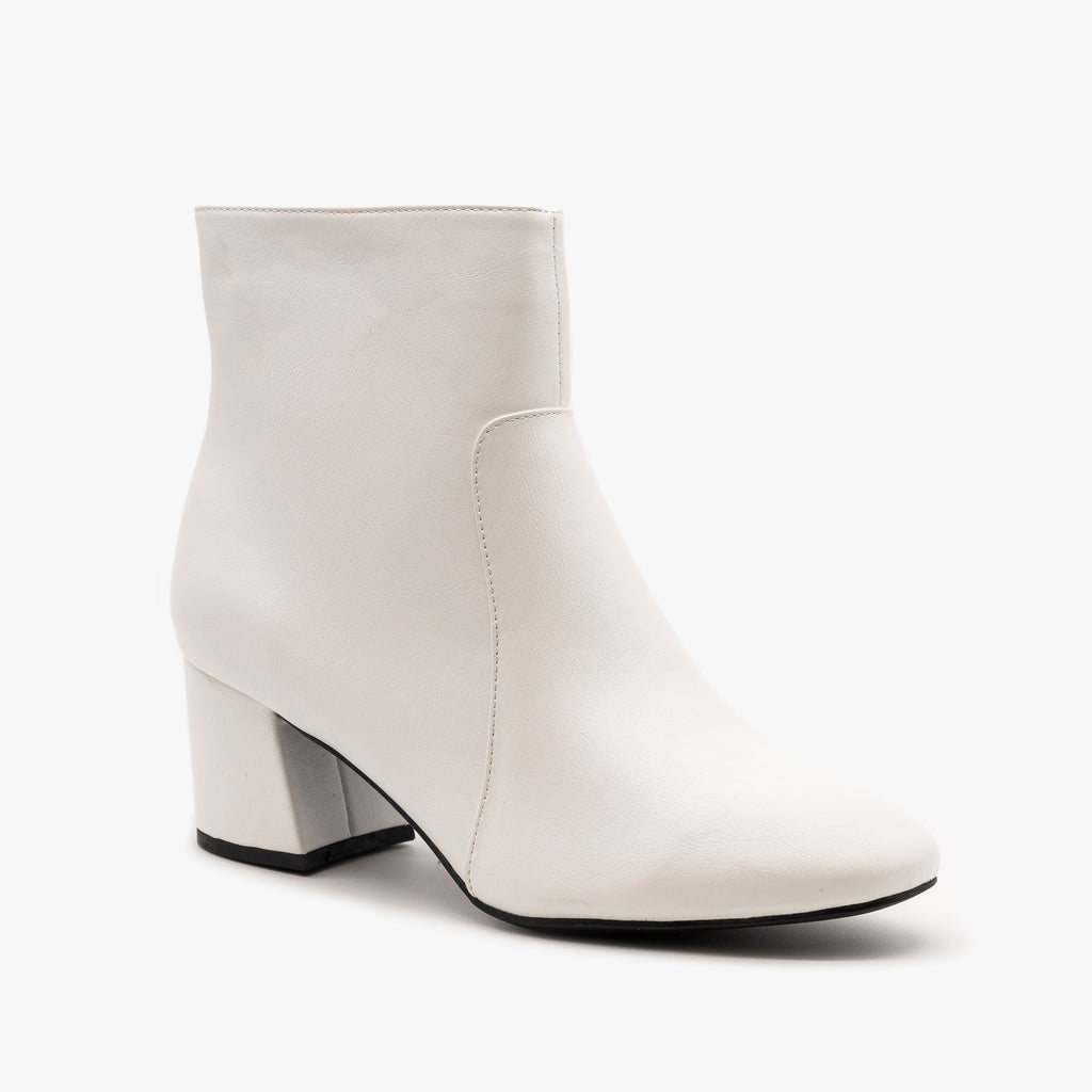 Womens Chunky Heel Party Booties - Bamboo Shoes - White / 5