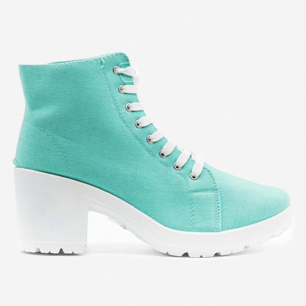 Women's Chunky Heel Sneaker Booties - Top Moda - Teal / 5
