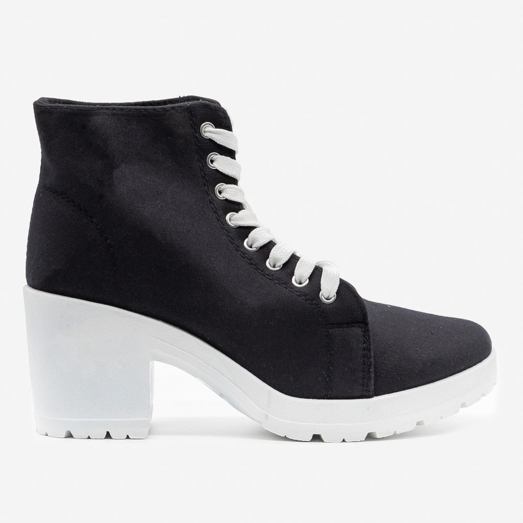 Women's Chunky Heel Sneaker Booties - Top Moda - Black / 5