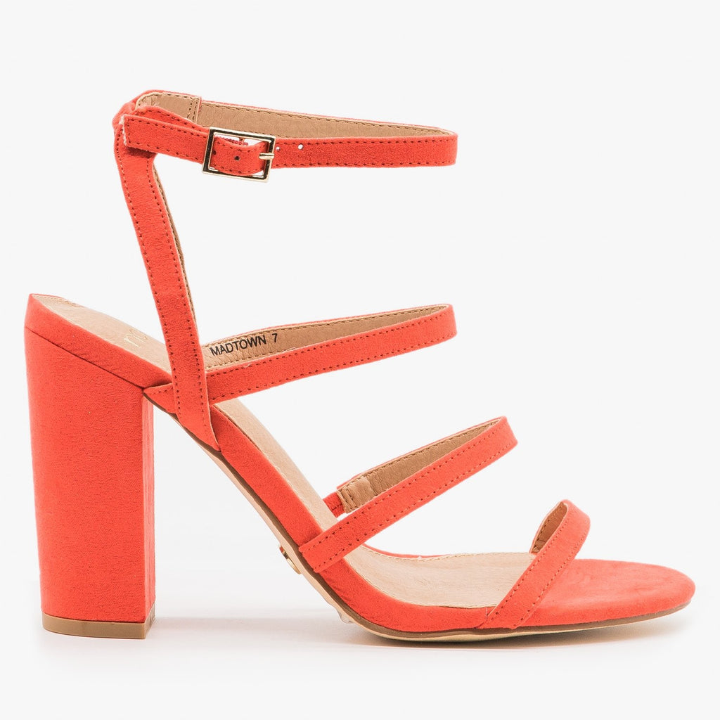 Women's Chunky Heel Strappy Sandals - Novo Shoes - Coral / 5