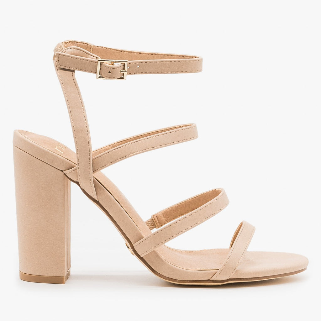 Women's Chunky Heel Strappy Sandals - Novo Shoes - Nude / 5