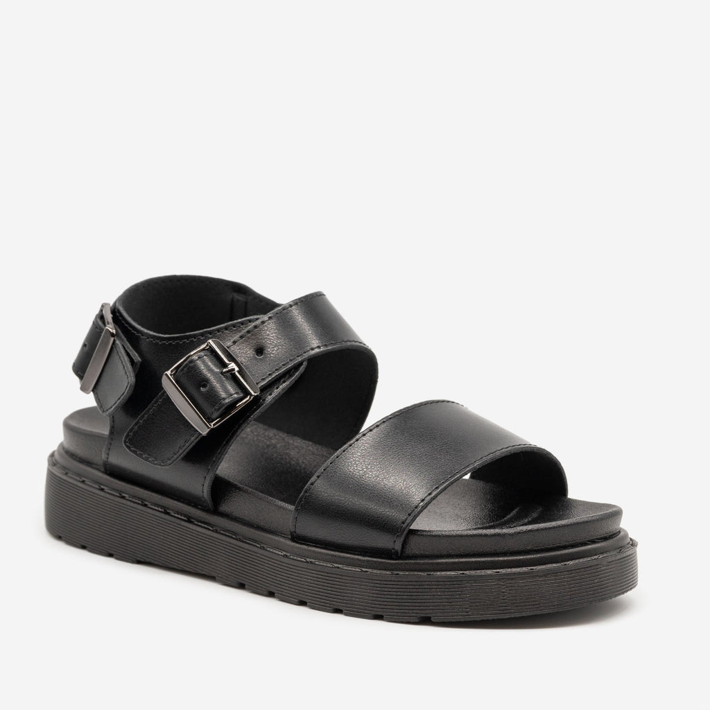 Women's Chunky Monochrome Sandals - Top Moda - Black / 5
