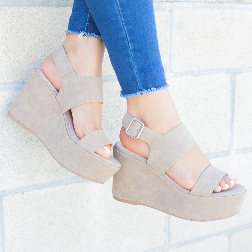 Womens Chunky Platform Wedges - Soda Shoes