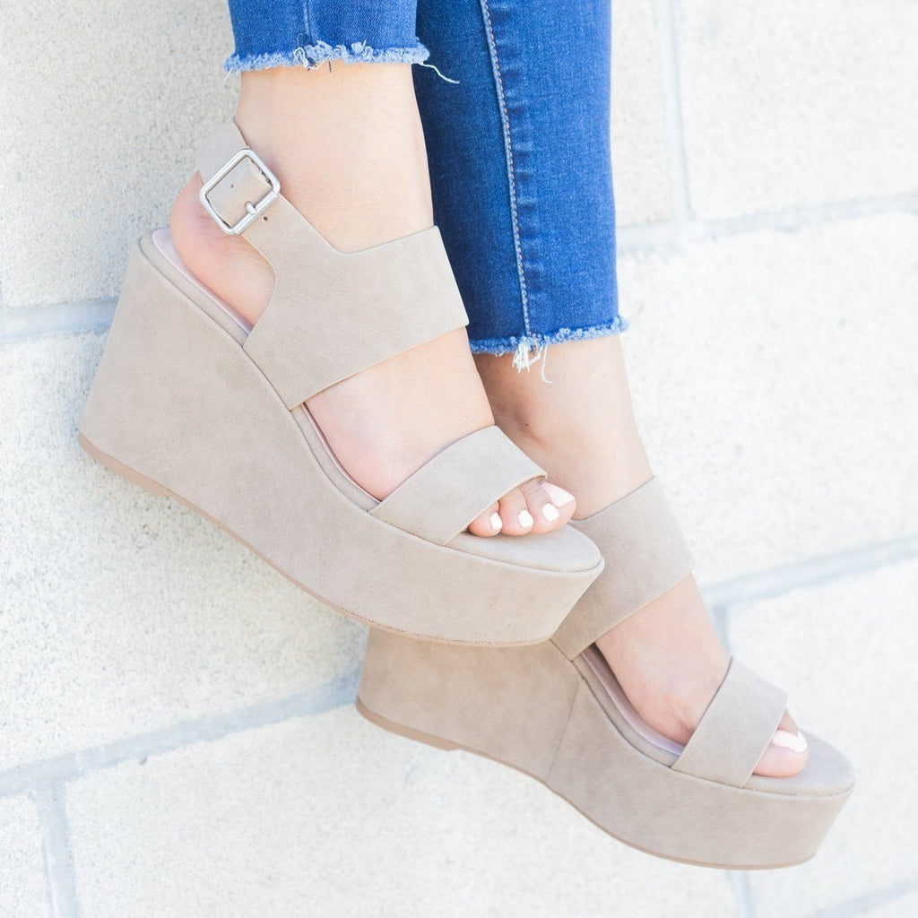 Womens Chunky Platform Wedges - Soda Shoes - Light Taupe / 5