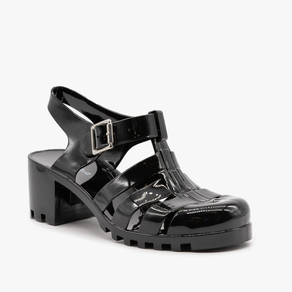 Womens Chunky Retro Sandals - Soda Shoes - Black / 5
