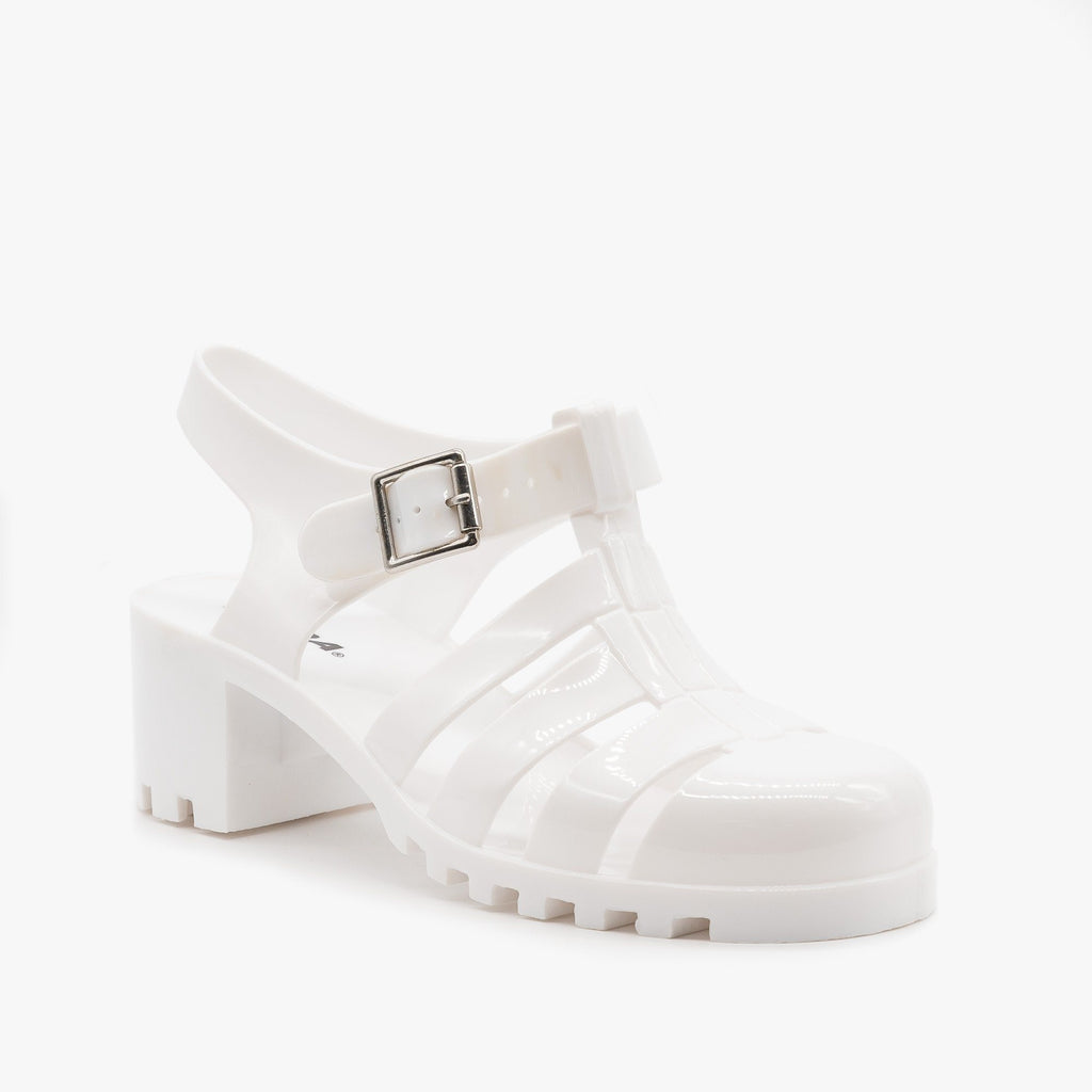 Womens Chunky Retro Sandals - Soda Shoes - White / 5