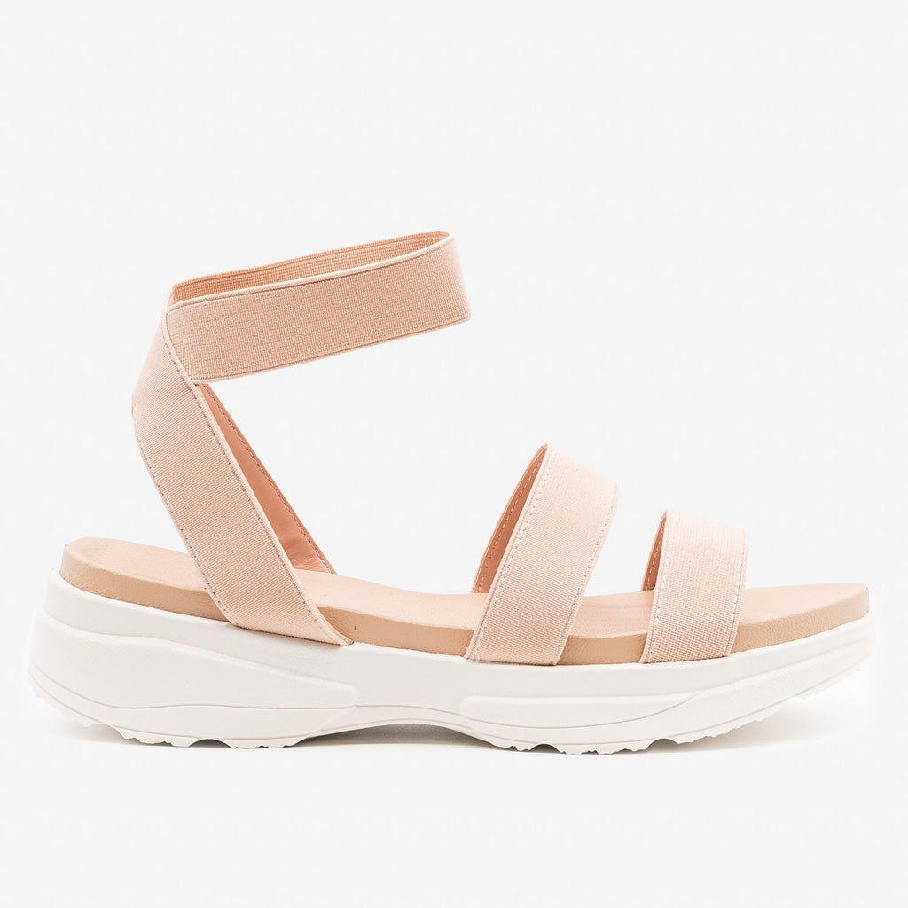 Women's Chunky Sole Elastic Sandals - Top Moda - Blush / 5