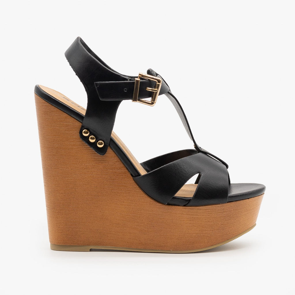 Womens Chunky Wedge Heel Sandals - Soda Shoes - Black / 5