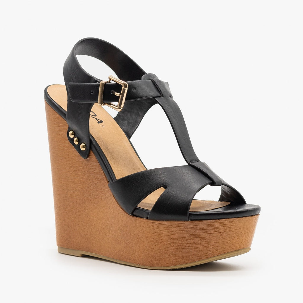 Womens Chunky Wedge Heel Sandals - Soda Shoes