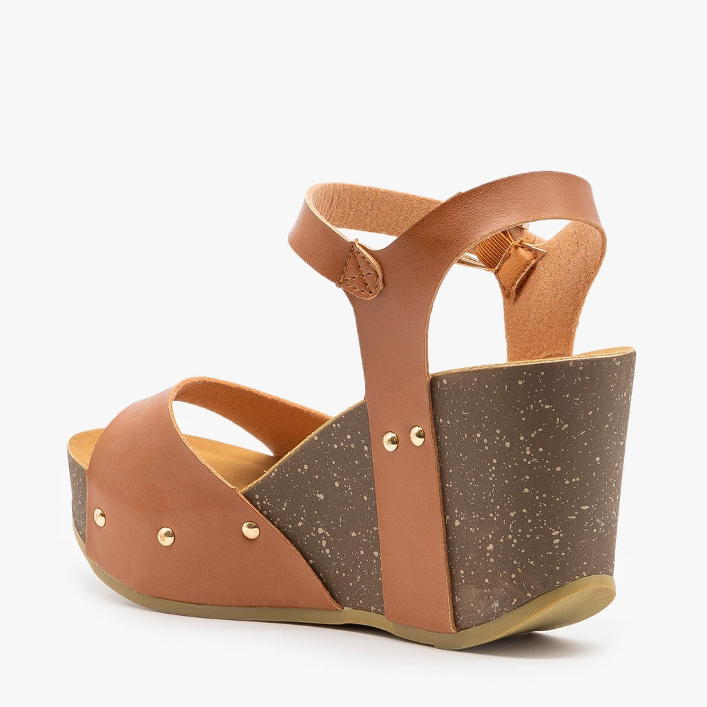 Womens Chunky Wedge Sandals - Anna Shoes