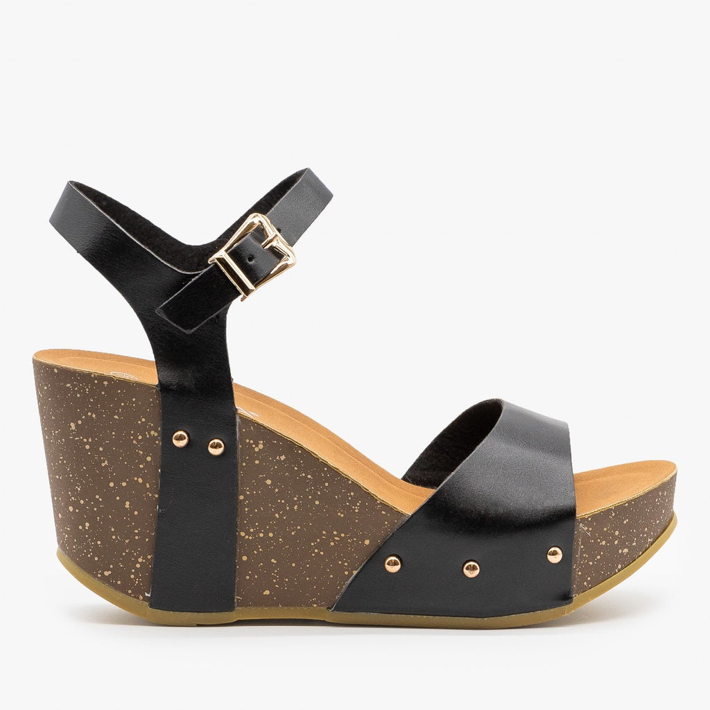 Womens Chunky Wedge Sandals - Anna Shoes - Black / 5