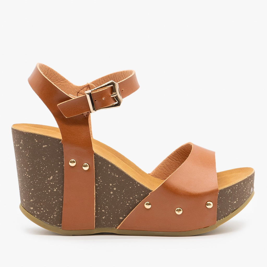 Womens Chunky Wedge Sandals - Anna Shoes - Tan / 5