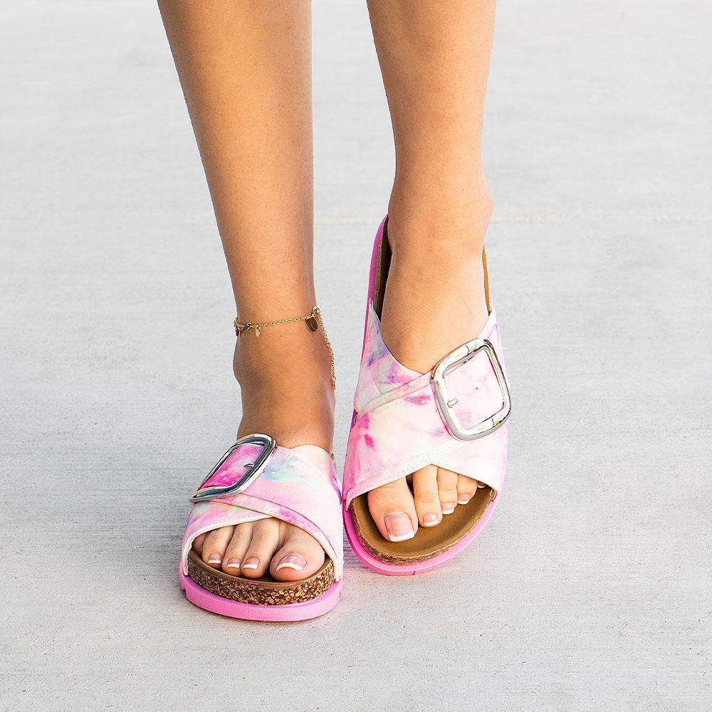Women's Cindy Criss Cross Slides - Yoki - Tie Dye / 5
