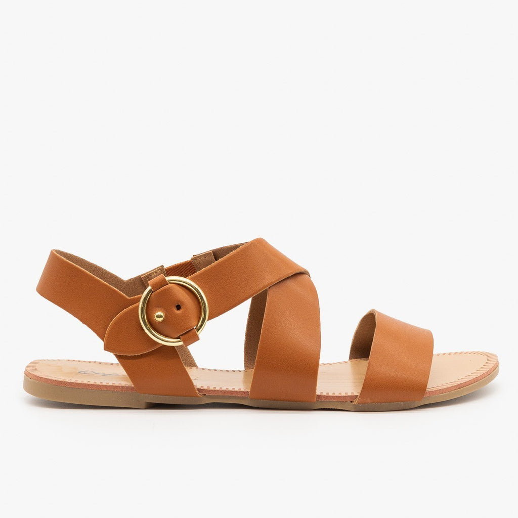 Womens Circular Buckle Sandals - Qupid Shoes