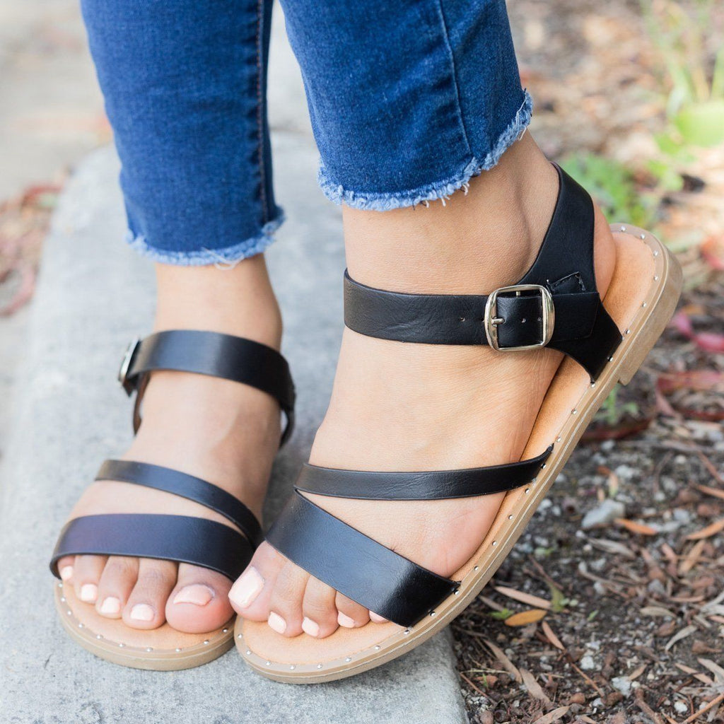 Womens Classic Ankle Strap Sandal - Weeboo - Black / 5
