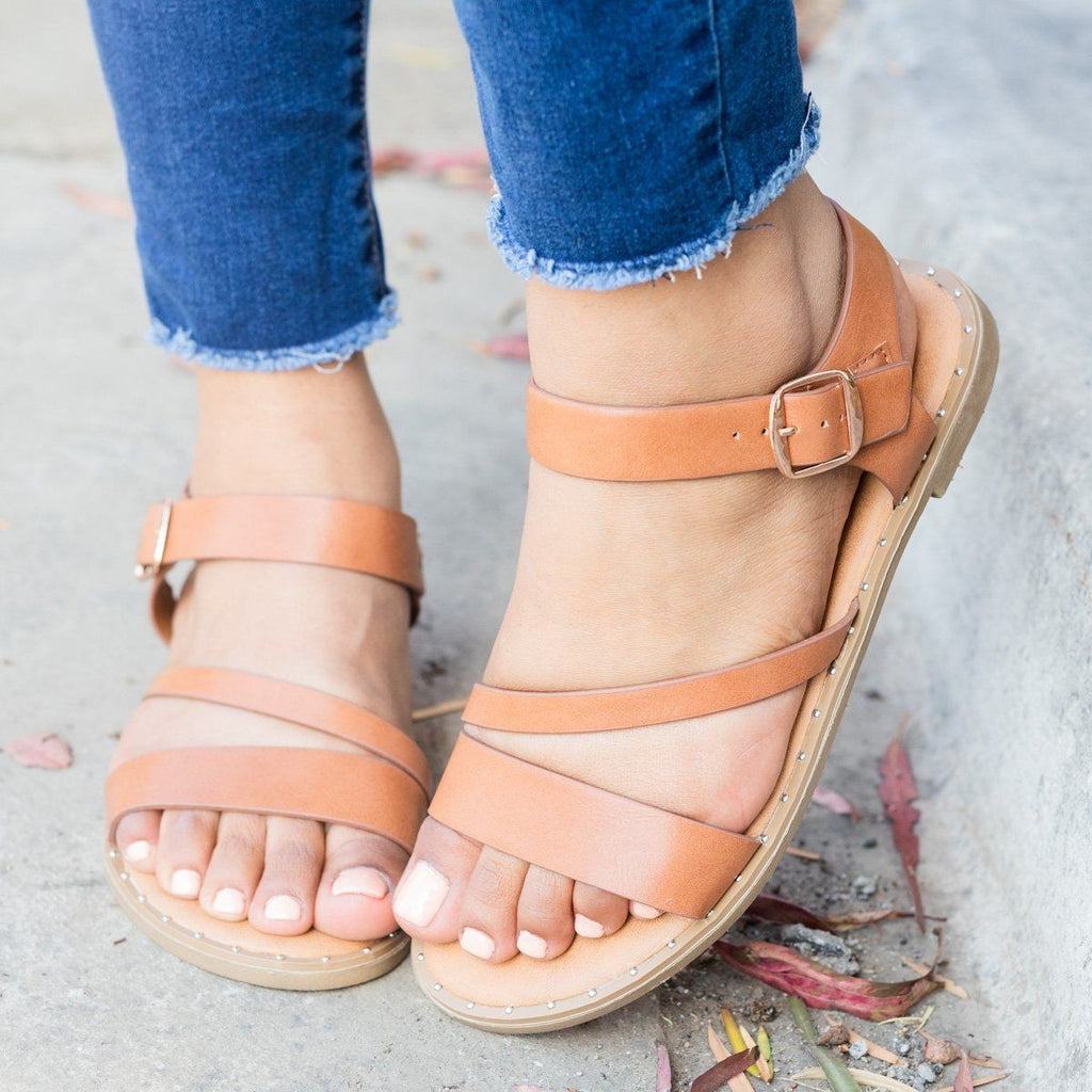 Womens Classic Ankle Strap Sandal - Weeboo - Tan / 5