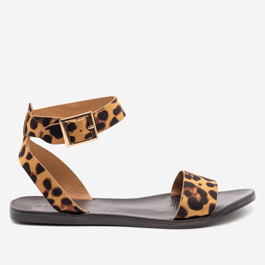 Women's Classic Ankle Strap Summer Sandals - Bamboo Shoes - Leopard / 5
