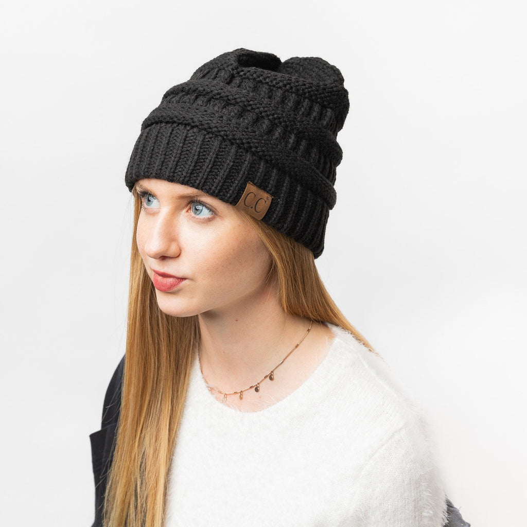 Womens Classic Black Knitted CC Beanie - Shoetopia