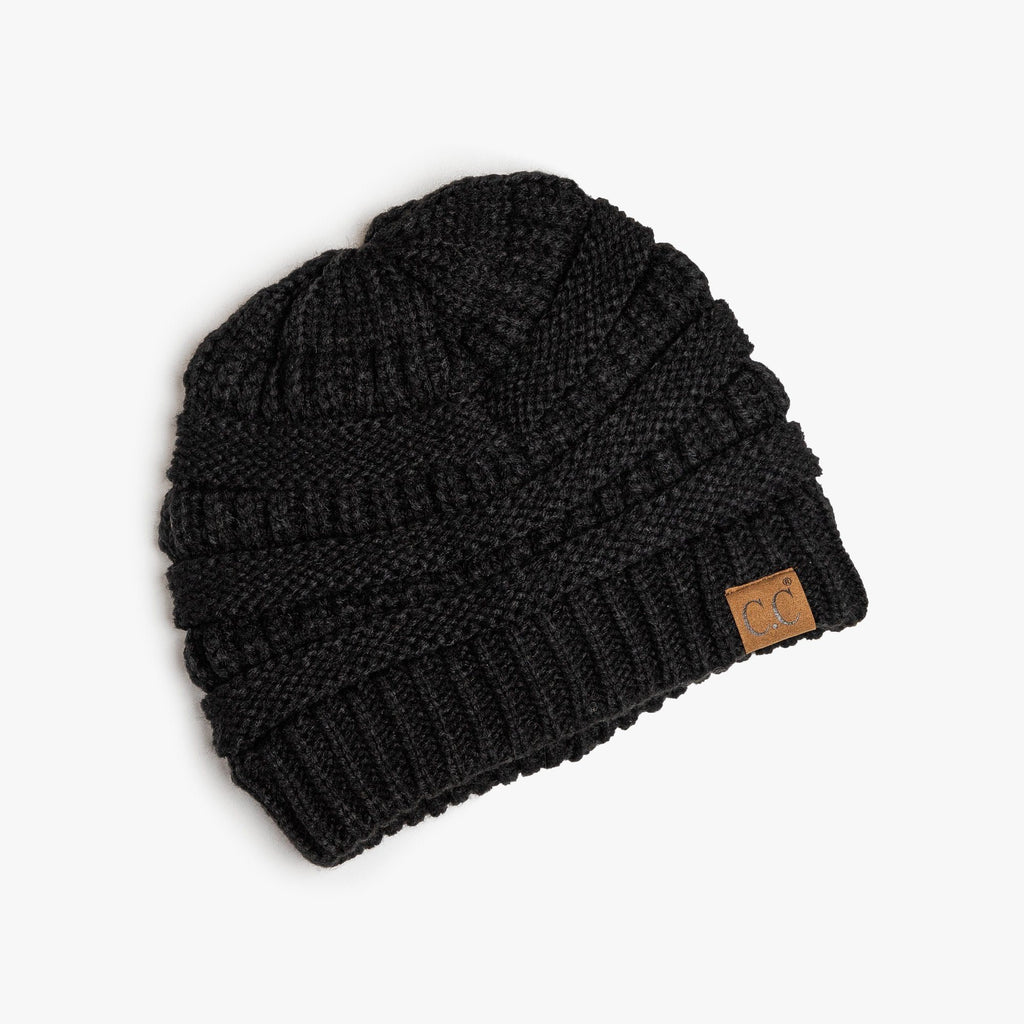 Womens Classic Black Knitted CC Beanie - Shoetopia - One Size / Black