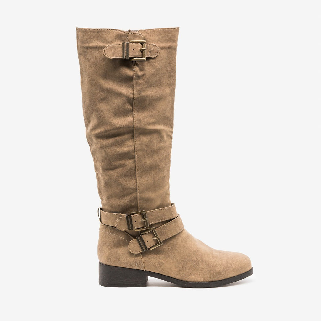 Womens Classic Buckle Riding Boots - Qupid Shoes - Taupe / 5