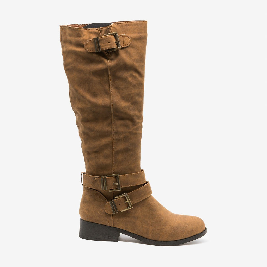 Womens Classic Buckle Riding Boots - Qupid Shoes - Cognac / 5
