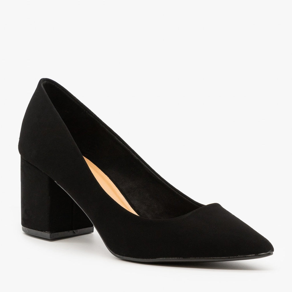 Womens Classic Chunky Heel Pumps - Bamboo Shoes