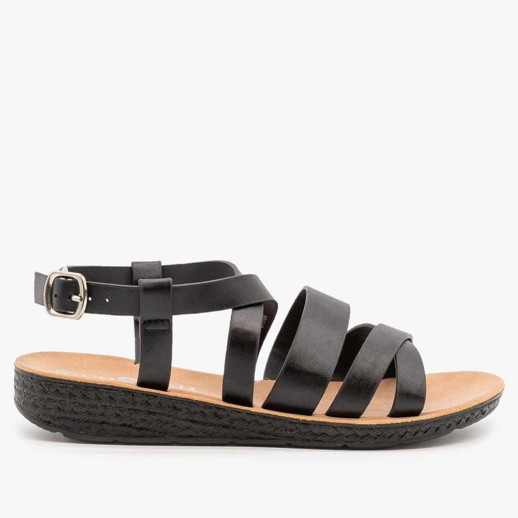 Womens Classic Comfy Criss Cross Sandals - Elegant - Black / 5