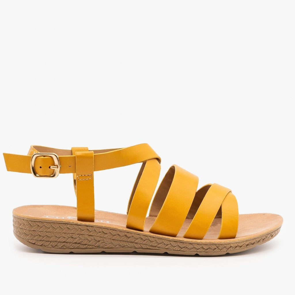 Womens Classic Comfy Criss Cross Sandals - Elegant - Mustard / 5