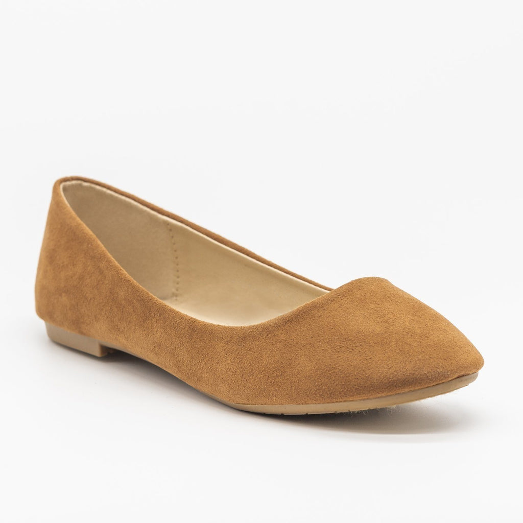 Womens Classic Comfy Insole Ballet Flats - Bella Marie - Light Brown / 5