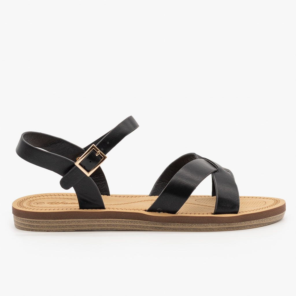 Womens Classic Crossed Strap Sandals - Weeboo - Black / 5