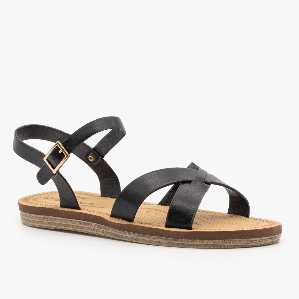 Womens Classic Crossed Strap Sandals - Weeboo