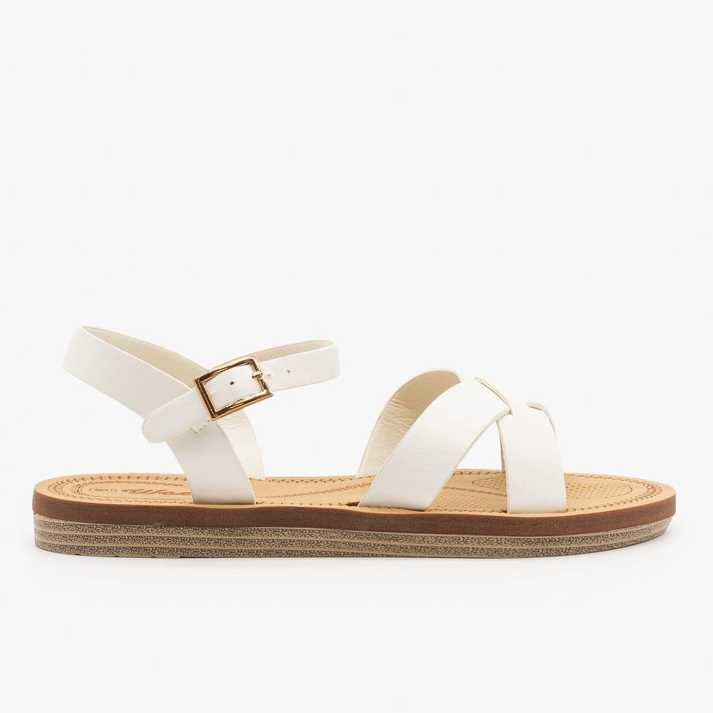 Womens Classic Crossed Strap Sandals - Weeboo - White / 5
